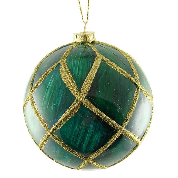 "5"" Regal Peacock Mica Glittered Christmas Ball Ornament - green"