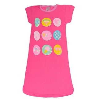 Sweet n Sassy Girls Fuchsia Pop-Up Emoji Print Short Sleeve Nightgown