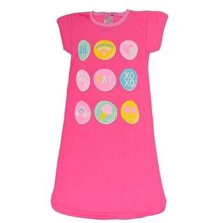Sweet n Sassy Little Girls Fuchsia Pop-Up Emoji Short Sleeve Nightgown