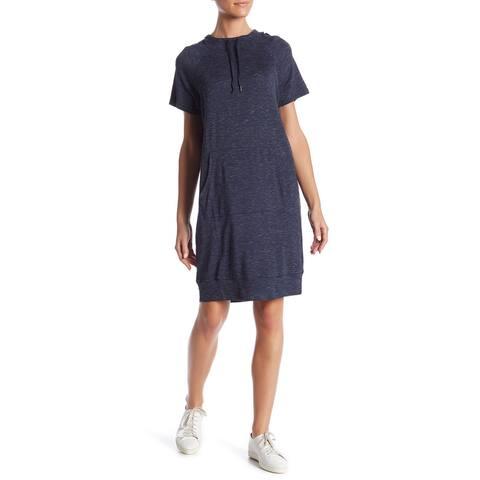 Workshop Short Sleeve Hooded French Terry Dress, Medium, Navy Heather