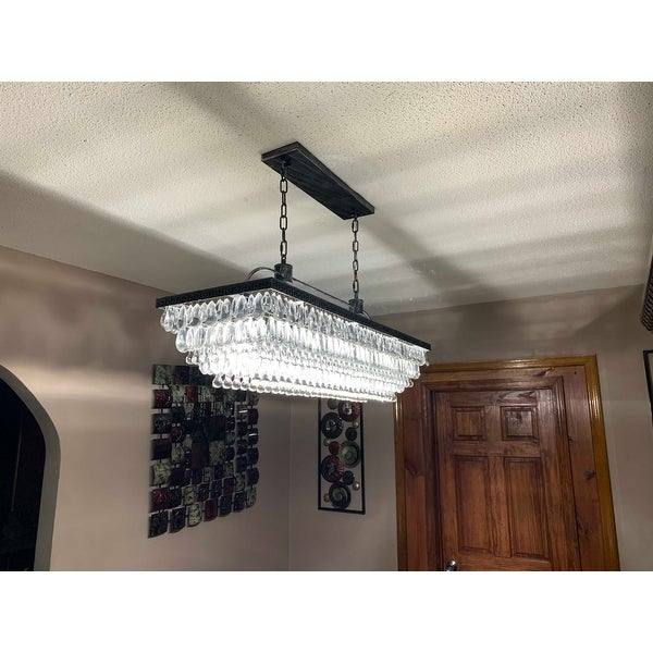 The Weston 40 Inch Rectangular Gl Drop Chandelier On Free Shipping Today 21659699