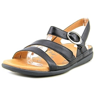Acorn Prima Ankle Women Open-Toe Leather Black Slingback Sandal