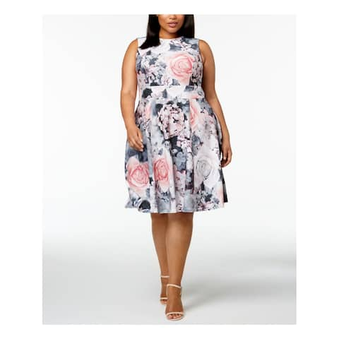 CALVIN KLEIN Womens Pink Floral Print Sleeveless Jewel Neck Knee Length Fit + Flare Dress Plus Size: 22W
