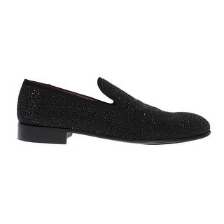 Dolce & Gabbana Black Suede Leather Crystal Loafers