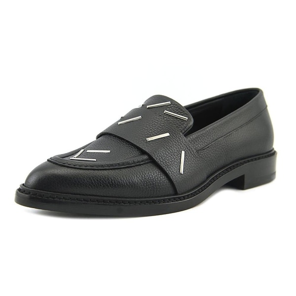 Christopher Kane Staples Penny Loafer Women Pointed Toe Leather Black Loafer