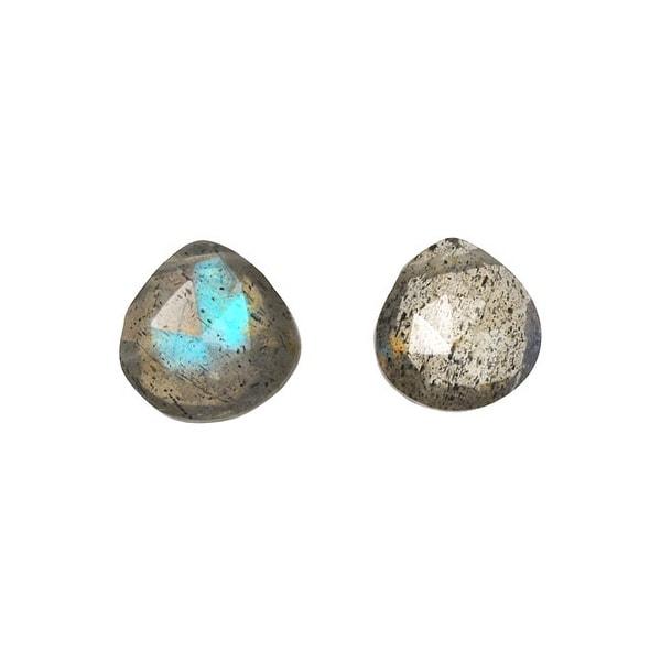 Labradorite Gemstone Beads, Heart Briolette 8mm, 10 Pieces, Blue Grey