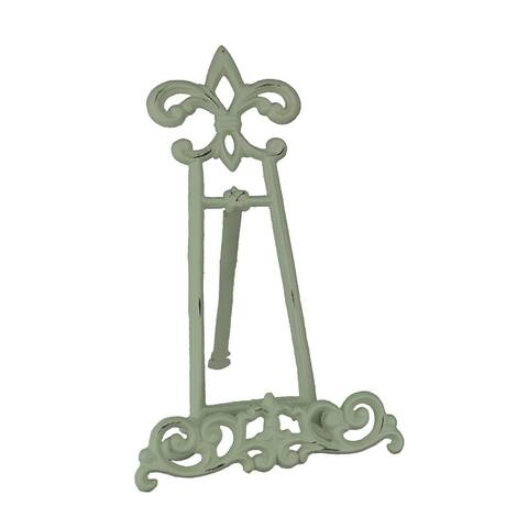 Vintage White Cast Iron Fleur De Lis Book Stand - 12.75 X 10 X 8.25 inches