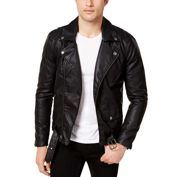 02bb07529 Ring Of Fire Mens Faux-Leather Motorcycle Jacket