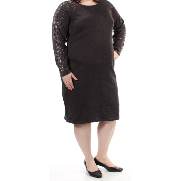 12632c911a63 Shop Womens Gray Long Sleeve Below The Knee Sheath Dress Size  2X - Free  Shipping On Orders Over  45 - Overstock.com - 21305019