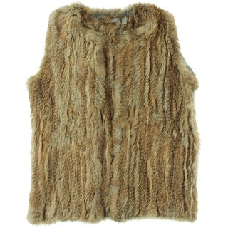 Dylan Gray Womens Rabbit Fur Open Front Vest - L