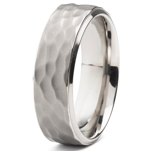 Hammered Finish Titanium Band 8mm (Sizes 8-13)
