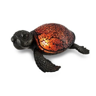 Amber Crackled Glass Mosaic Sea Turtle Accent Lamp - Brown