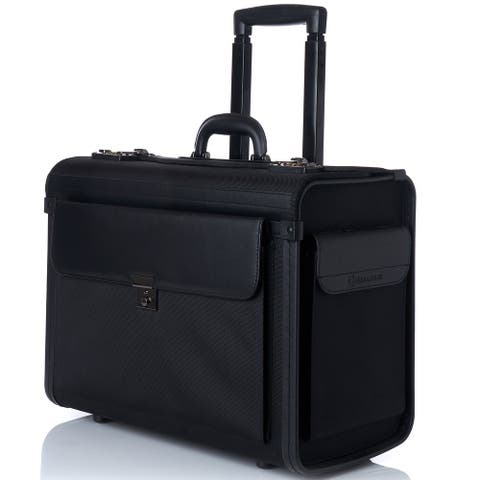 "Alpine Swiss Rolling 17"" Laptop Briefcase on Wheels Attache Lawyers Case Legal Size - Black - One Size"