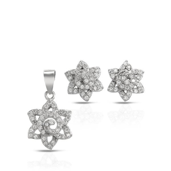 Mcs Jewelry Inc STERLING SILVER 925 CUBIC ZIRCONIA FLOWER EARRING AND PENDANT SET WITH SWIRL CENTER