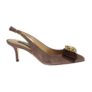 Dolce & Gabbana Brown Suede Leather Crystal Slingbacks Shoes - 36
