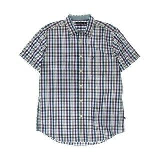 Nautica Mens Poplin Short Sleeves Button-Down Shirt - M