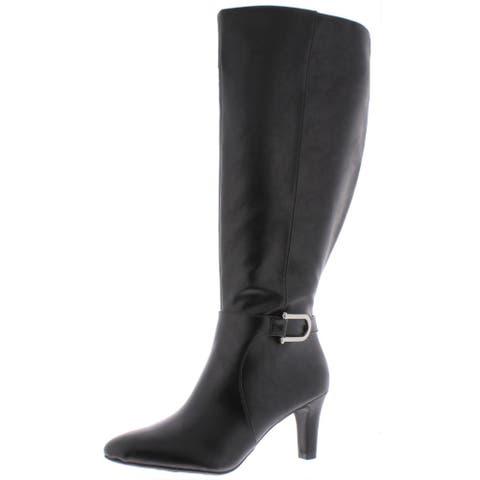 LifeStride Womens Galina Knee-High Boots Faux Leather Wide Calf - Black - 6.5 Medium (B,M)