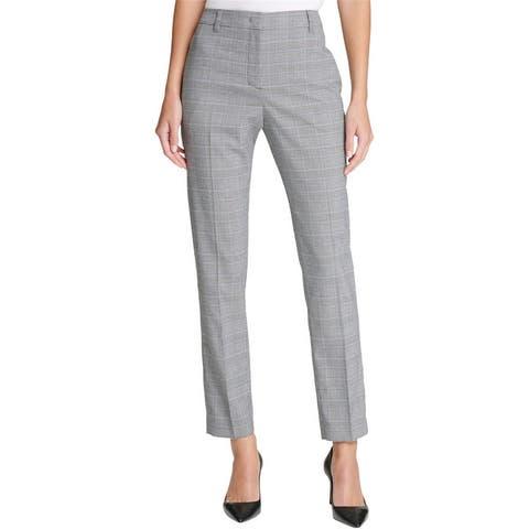 Dkny Womens Plaid Casual Trouser Pants