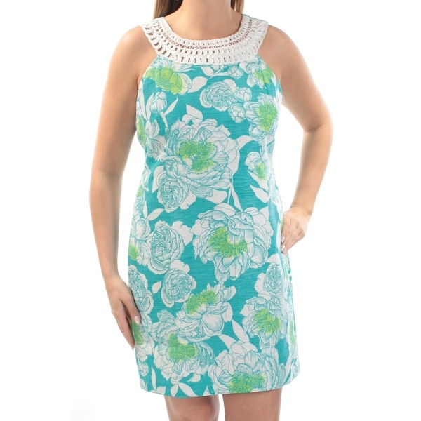 88e012ff42985 Shop JESSICA HOWARD Womens Turquoise Floral Sleeveless Jewel Neck Above The  Knee Sheath Dress Size: 14 - On Sale - Free Shipping On Orders Over $45 ...