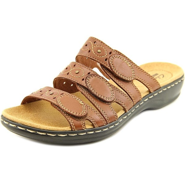 Clarks Narrative Leisa Cacti Q Women W Open Toe Leather Brown Slides Sandal
