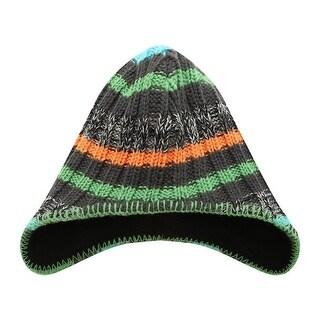 Richie House Little Boys Grey Orange Green Striped Earflap Cap