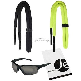 JAVOedge 2 Pack of Elastic Adjustable Floating Outdoor Sunglass Eyeglass Strap for Sports, Etc. (Black and Green) - black, green