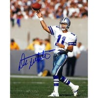 Danny White signed Dallas Cowboys 8x10 Photo white jersey passing