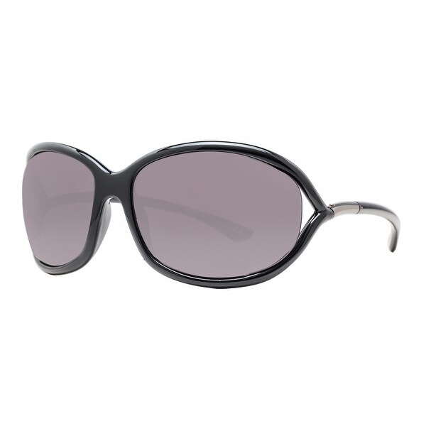 Tom Ford Jennifer TF 8 199 Shiny Black Smoke Gray Women's Soft Square Sunglasses - Shiny Black - 61mm-16mm-120mm