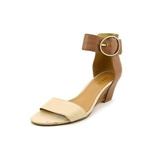 Nine West Ventana Women Open Toe Leather Tan Wedge Sandal