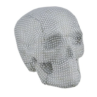 Scary Sparkling Rhinestone Glam Skull Statue - 6 X 7.5 X 6 inches