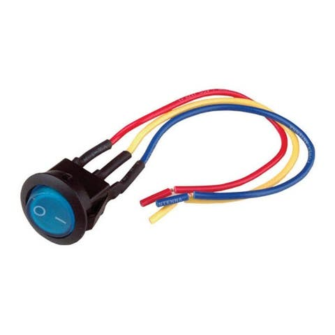 """Nippon mini rocker switch with 6"""" lead wire blue color LED"""