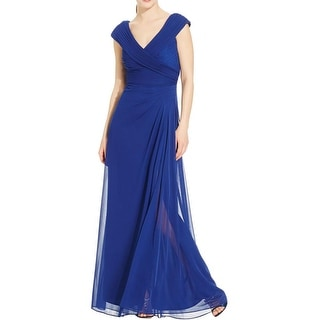 Alex Evenings Womens Evening Dress Gathered Off-The-Shoulder