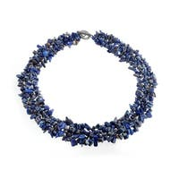 Bling Jewelry Multi Strands Imitation Lapis Lazuli Chips Chunky Cluster Necklace Silver Plated