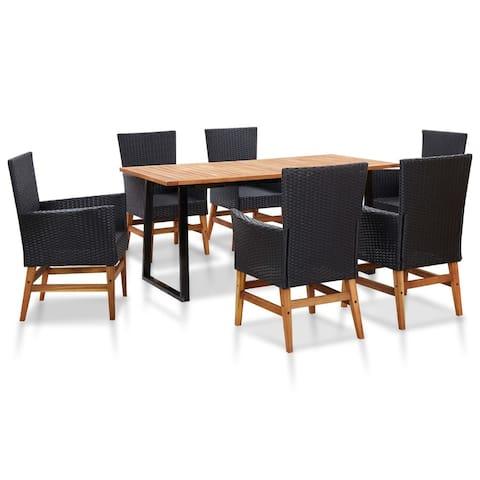 vidaXL 7 Piece Outdoor Dining Set Poly Rattan and Acacia Wood Black