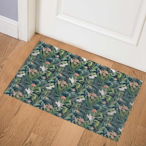 TROPICAL JUNGLE NAVY Indoor Floor Mat By Kavka Designs
