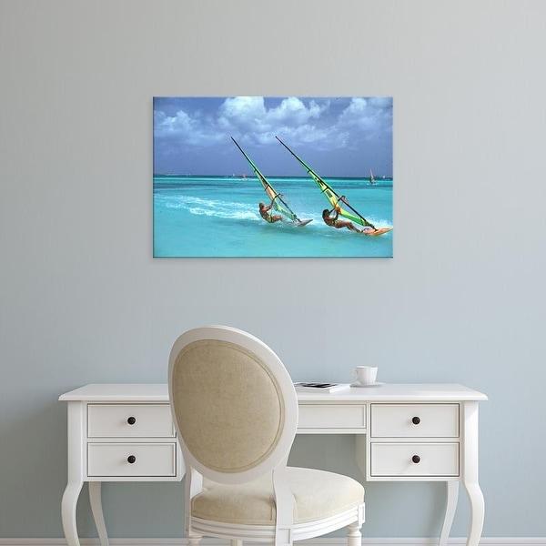 Easy Art Prints James Kay's 'Aruba Windsurfing Pair' Premium Canvas Art