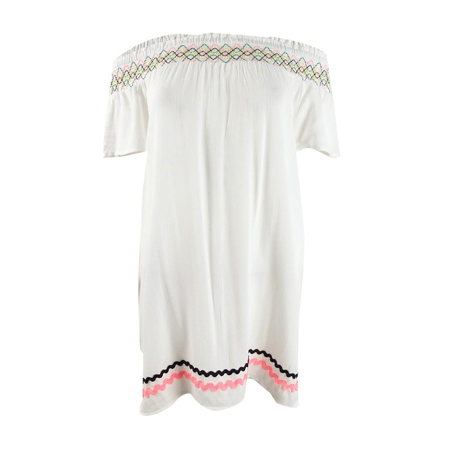 Miken Womens Embroidered Off-The-Shoulder Dress Swim Cover-Up