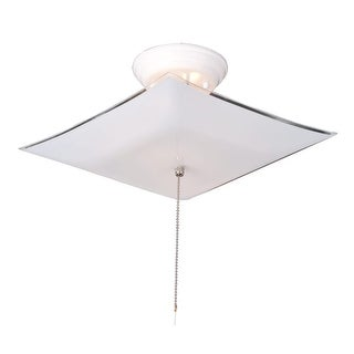 """Design House 517805 Traditional / Classic 2-Light Up Lighting Semi-Flush Ceiling Fixture with Chain and 12"""" Wide Frosted Glass"""