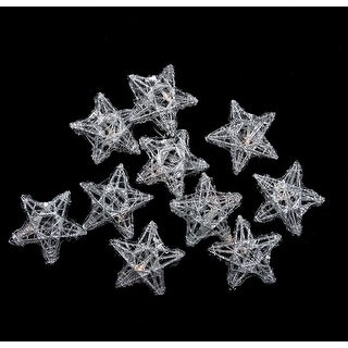 10 Battery Operated Clear LED Spun Glass Star Christmas Lights - Silver Wire