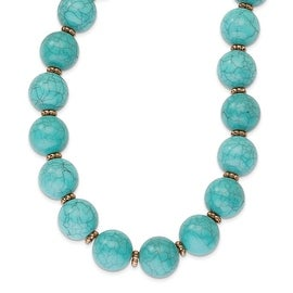 Copper Aqua Acrylic Beads Necklace - 16in
