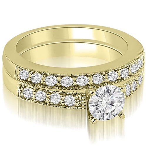 1.08 cttw. 14K Yellow Gold Antique Milgrain Round Cut Diamond Bridal Set