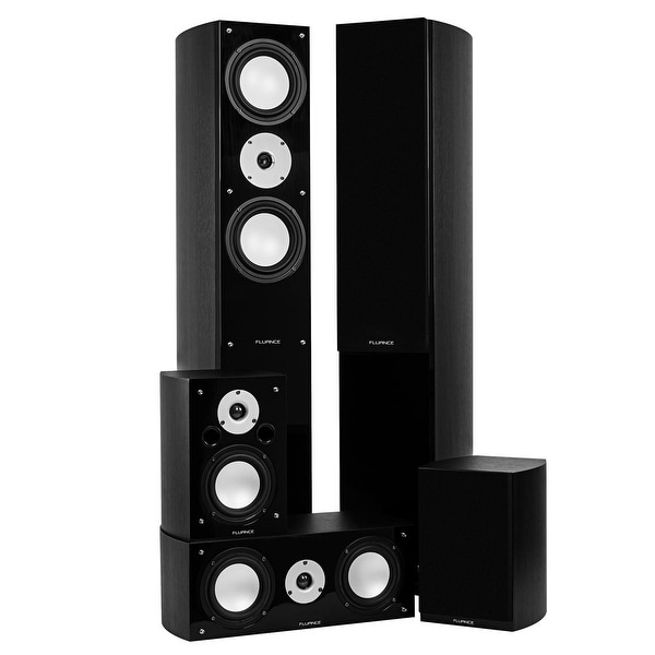 Fluance XLHTBBK High Performance 5 Speaker Surround Sound Home Theater Speaker System (Black Ash)