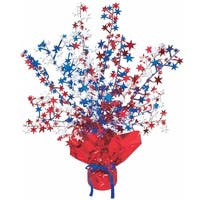 "Club Pack of 12 Red, White and Blue Star Gleam 'N Burst Centerpiece Party Decorations 15"" - Red"