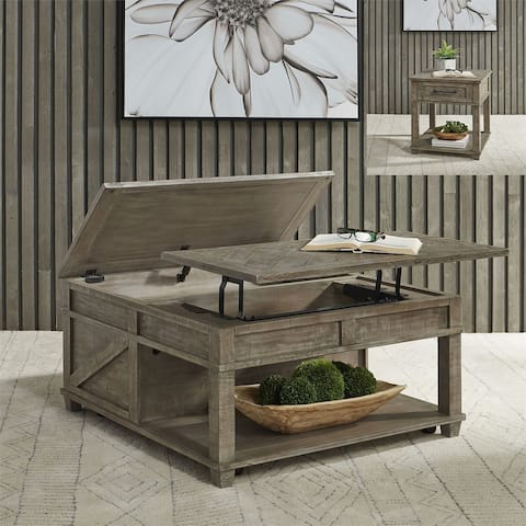 Parkland Falls Weathered Taupe Option 3-piece Table Set