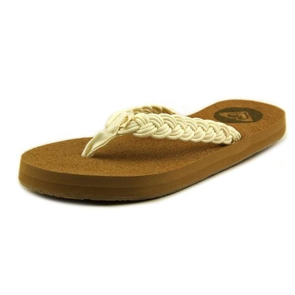 684de3795 Shop Roxy Coastal Women Open Toe Canvas White Flip Flop Sandal ...