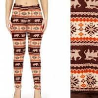 Women Winter Nordic Christmas Deer Snowflake Printed Fur Lined Fleece Blanket Leggings Pants