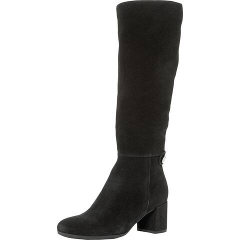 La Canadienne Womens Jenna Thigh-High Boots Faux Suede Zipper - Black Suede