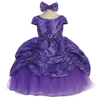 Baby Girls Purple Cinderella Embroidered Taffeta Dress 6-24M