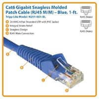 Tripp Lite N201-001-Bl 1Ft Cat6 Gigabit Snagless Molded Patch Cable - Blue