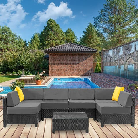 Mcombo Patio Furniture Sets 7 Pieces Outdoor Wicker Sectional Sofa Set, PE Rattan Aluminum Frame Conversation Sets